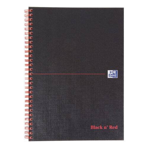 BlackNRed Matt B5 Indexed Wirebound Notebook 400099450 [Pack 5] | Wirebound hardback notebook for durability | Fusion Office UK