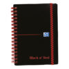 BlackNRed Polypropylene A6 Ruled Wirebound Notebook 100080476 [Pack 5] | Red elastic strap closure | Fusion Office UK