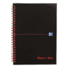 BlackNRed Matt A5 Ruled Wirebound Notebook 100080154 [Pack 5] | Red twin wire allows pages to lay flat | Fusion Office UK