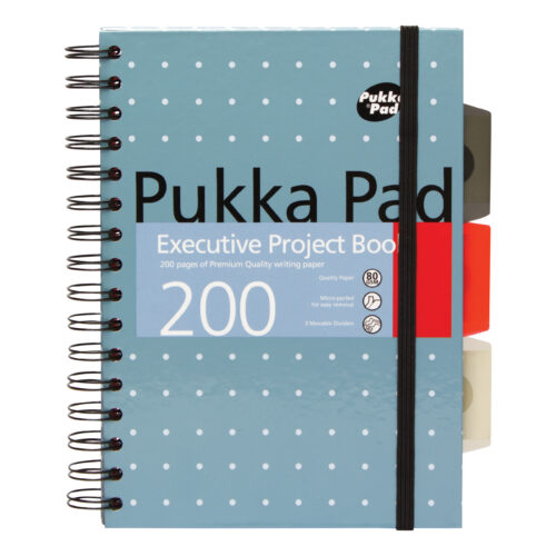 Pukka Pad Executive Project Books A5 6336-MET [Pack 3] | Quality Paper | Micro Perforated for easy removal | 3 dividers | Fusion Office UK