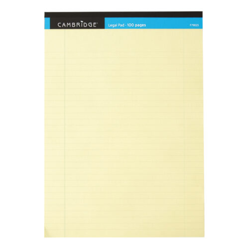 Cambridge Legal Pads A4 Yellow 100080179 [Pack 10]   Headbound micro-perforated pages for easy removal with a clean edge   Fusion Office UK
