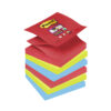 3M R330-6SS-JP Post-it Super Sticky Z-Notes BoraBora 76x76mm [Pack 6] | Colourful Notes are inspired by colourful cities | Fusion Office UK
