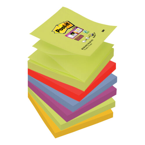 3M R330-6SS-MAR Post-it Super Sticky Z-Notes Marrakesh 76x76mm [Pack 6] | Colourful Notes are inspired by colourful cities | Fusion Office UK