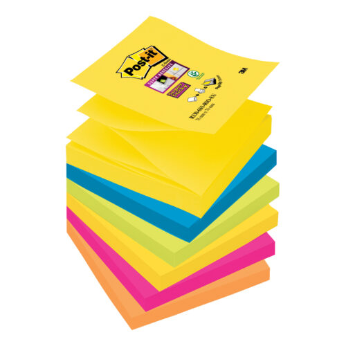 3M R330-6SS-RIO Post-it Super Sticky Z-Notes Rio 76x76mm [Pack 6] | Colourful Notes are inspired by colourful cities | Fusion Office UK