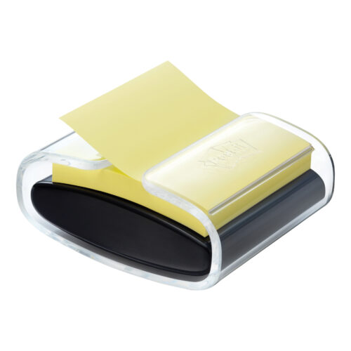 3M PRO-B-1SSCY-R330 Post-it Pro Z-Note Dispenser 76x76   Transparent top and black base   Weighted base   Fusion Office UK