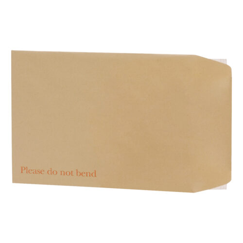 Board Backed Envelopes 350x248mm 13.77x9.76inch [Pack 125] | Peel & seal | Printed 'Please do not bend' | Fusion Office