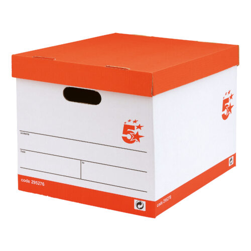 Storage Boxes Standard White & Red [10] | Manufactured from FSC accredited 100% recycled board | Archival Storage | Fusion Office