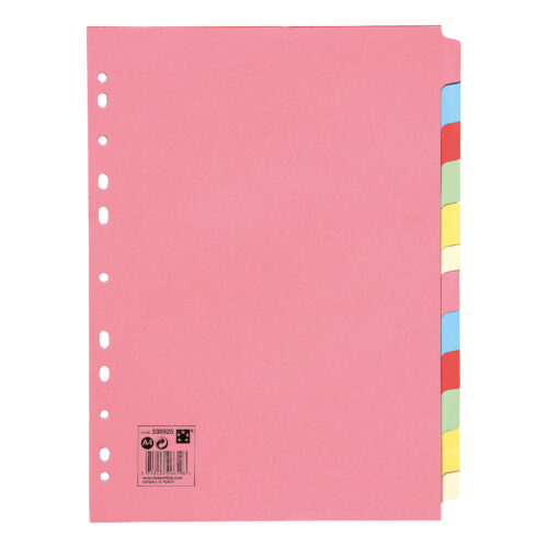 Subject Dividers 12 Part A4 Assorted Colours | Multi-punched spine | Made from 100% recycled material | Fusion Office