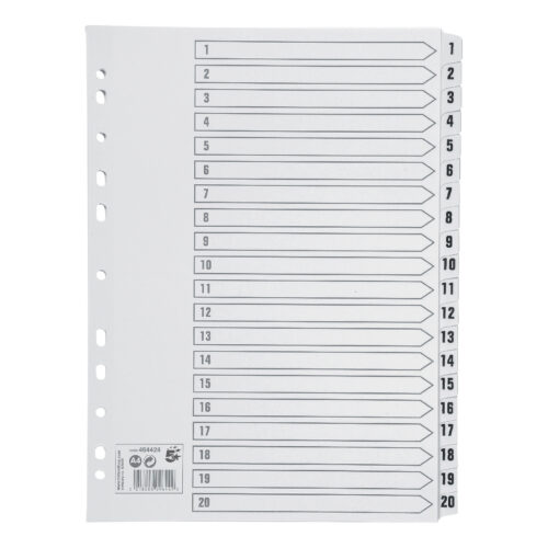Index Dividers A4 1-20 White A4 Mylar Tabs | Reinforced Tabs | Multi Punched | Contents Page included | Fusion Office