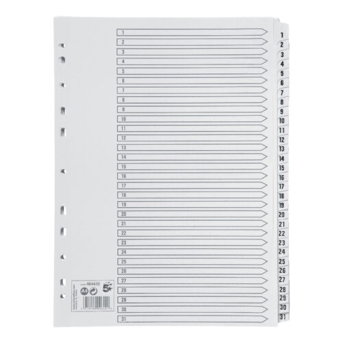 Index Dividers A4 1-31 White A4 Mylar Tabs   Reinforced Tabs   Multi Punched   Contents Page included   Fusion Office