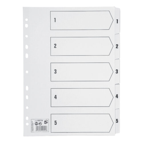 Index Dividers A4 1-5 White A4 Mylar Tabs | Reinforced Tabs | Multi Punched | Contents Page included | Fusion Office