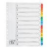 Index Dividers Extra Wide A4 1-10 Colour A4 Mylar Tabs | Extra wide tabs | Reinforced filing strip | Fusion Office