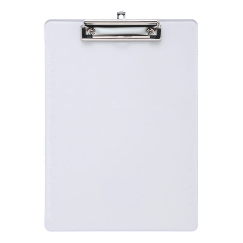 Plastic Clipboard A4 Clear   Made from durable clear plastic   Pull out metal hole   Pen holder space   Fusion Office