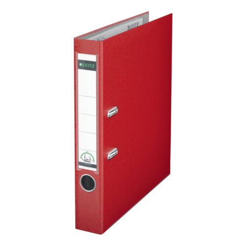 Leitz Mini Lever Arch Files Red A4 PP Cover 10151025 [Pack 10] | Unique patented mechanism opening 180° | 5 Year Guarantee | Fusion Office