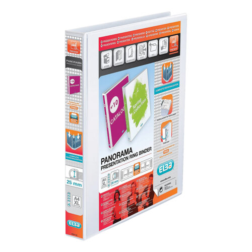 Elba Panorama 4D Ring-Binders 25mm White A4 400001391 [Pack 10]   Front, back & spine pockets for personalisation   Fusion Office UK