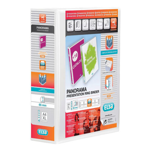Elba Presentation Ring-Binders 4-Ring 65mm White A4 400008673 [Pack 4]   Front, back & spine pockets for personalisation   Fusion Office UK