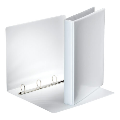 Esselte Presentation 4D Ring Binders White 25mm 49702 [Pack 10]   Presentation binder with leather style effect   Fusion Office UK