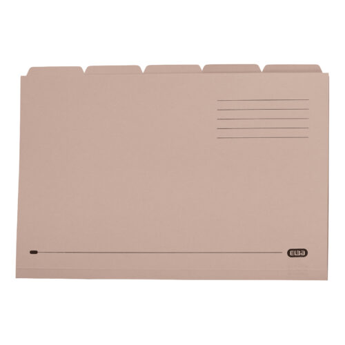 Elba Tabbed Folders Buff 250gsm 100090233 [Pack 20] | 100% Recyclable | Ideal for sub dividing contents within a folder | Fusion Office UK