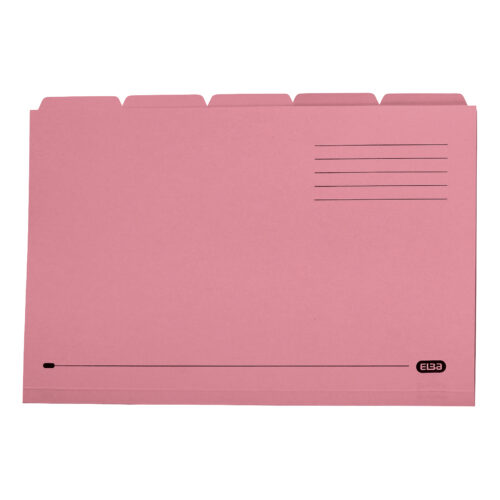 Elba Tabbed Folders Pink 250gsm 100090236 [Pack 20] | 100% Recyclable | Ideal for sub dividing contents within a folder | Fusion Office UK