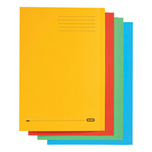 Elba Strongline Square Cut Folders Assorted 100090267 [Pack 50]   100% recycled and recyclable   Heavyweight 320gsm manilla   Fusion Office UK