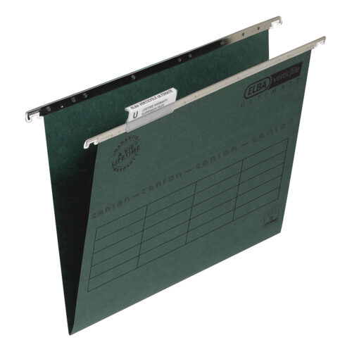 Elba Verticfile Ultimate Foolscap Green 100331250 [Pack 50] | 100% recycled & Blue Angel accredited manilla | Fusion Office UK