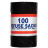 Refuse Sacks 92 Litres Bin Liners Roll 100 | 25 Microns - Medium Duty | Also known as Refuse Sacks | Fusion Office