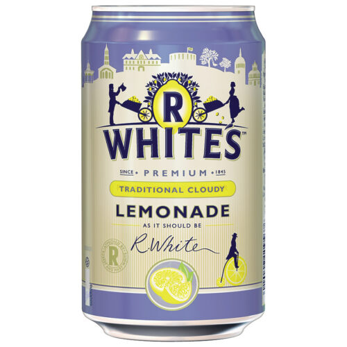 R.Whites Cloudy Lemonade Can 330ml [Pack 24] | Low calorie sparkling cloudy lemonade soft drink with sugar and sweeteners | Fusion Office UK
