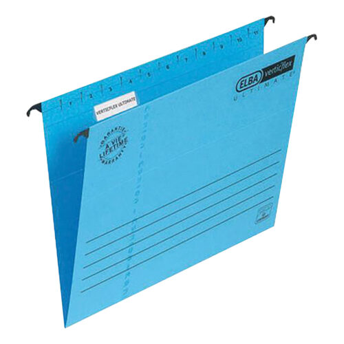 Elba Verticflex Ultimate Foolscap Blue 100331168 [Pack 25] | 100% recycled material and Blue Angel accredited manilla | Fusion Office UK