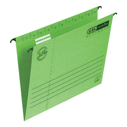 Elba Verticflex Ultimate Foolscap Green 100331170 [Pack 25]   100% recycled material and Blue Angel accredited manilla   Fusion Office UK