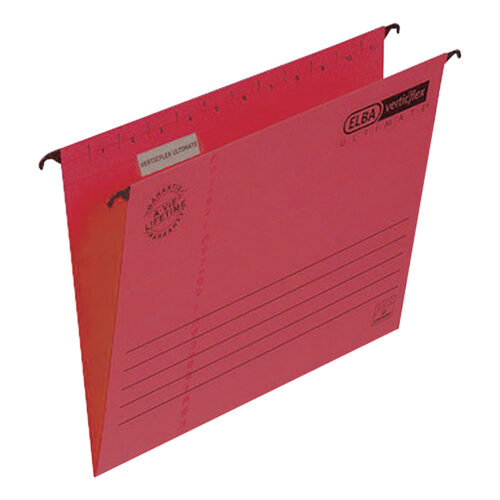 Elba Verticflex Ultimate Foolscap Red 100331172 [Pack 25] | 100% recycled material and Blue Angel accredited manilla | Fusion Office UK