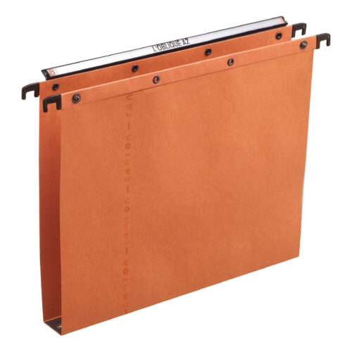 Elba AZO Suspension Files 30mm Orange Foolscap 100330314 [Pack 25]   100% recycled material   Durable steel metal bars   Fusion Office UK