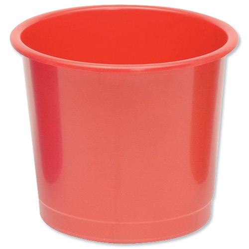 Polypropylene Waste Bin Red 14 Litres | High grade polypropylene | Lightweight yet sturdy construction | Fusion Office UK