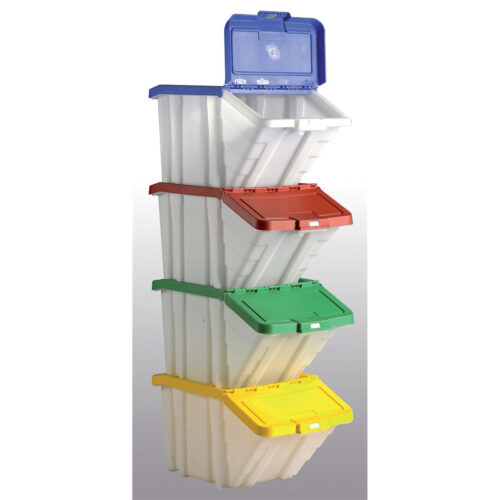 Barton Topstore Multi-Colour 4 Storage Containers 052100/4 | Ideal for separating items | polypropylene | Hinged lids | Fusion Office UK