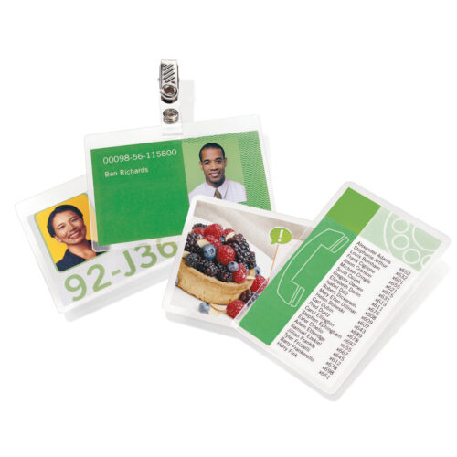 GBC Laminating Pouches Badge 67x99 250mic 3743177 [Pack 100] | 250 micron | High gloss finish | Photo compatible | Fusion Office UK