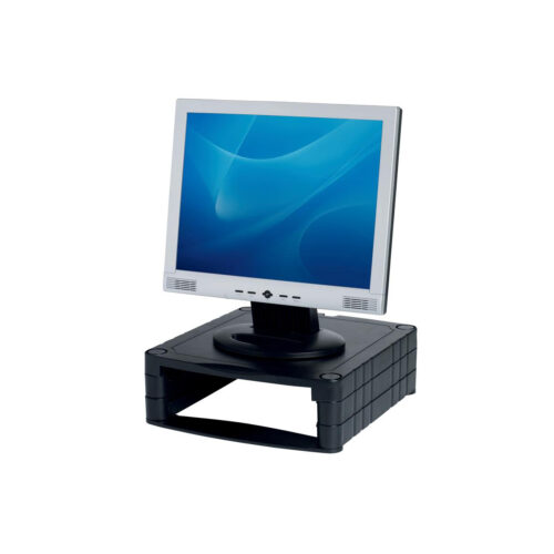 Monitor Riser Stand Stackable Black | Up to 20kg | Can be stacked for additional height 34mm to 100mm | Fusion Office