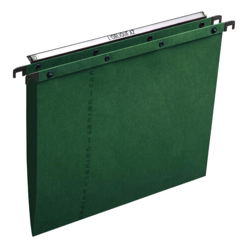 Elba AZO Suspension Files 15mm Green Foolscap 100330318 [Pack 25] | 100% recycled material | Durable steel metal bars | Fusion Office UK