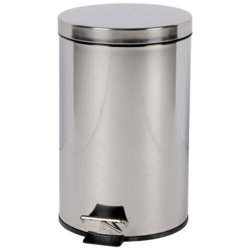 Pedal Bin 12 Litres Stainless Steel Silver   Foot operated pedal bin   Supplied with easy to clean removable plastic liner   Fusion Office UK