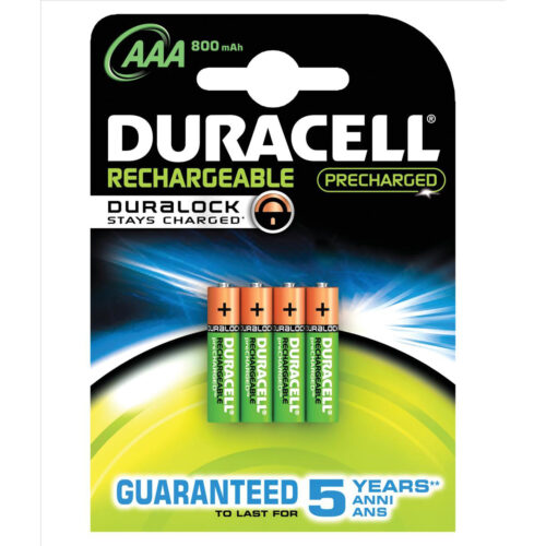 Duracell Rechargeable AAA 800mAh Batteries [Pack 4]   Comes pre-charged and ready to use   Guaranteed to last 5 years   Fusion Office UK