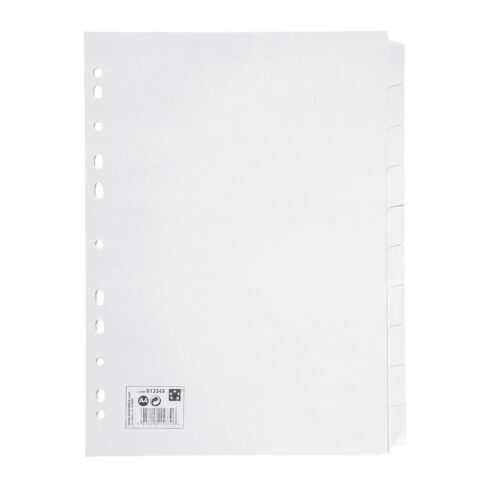 Subject Dividers 10 Part A4 White | Multi-punched spine | Made from 100% recyclable material | Fusion Office