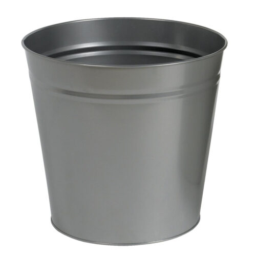 Round Metal Waste Bin Grey 15 Litres | Made of metal with scratch resistant epoxy paint | Modern Office Style | Fusion Office UK