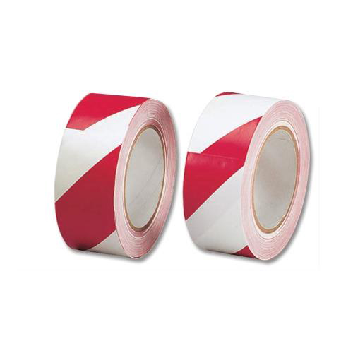 Hazard Tape Red & White | Tape width is 50mm and 33 metres long | Made from PVC tape | Lane Marking Tape | Fusion Office