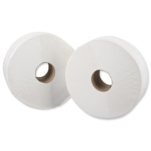 Jumbo Toilet Rolls 76mm Core 2 Ply White [Pack 6]   Quality soft perforated white toilet tissue rolls   Fusion Office