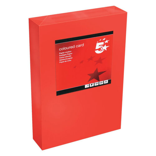 Card A4 Deep Red 160gsm (250 Sheets) Ream | Colour code documents for ease of filing & identification | laser & Inkjet | Fusion Office UK