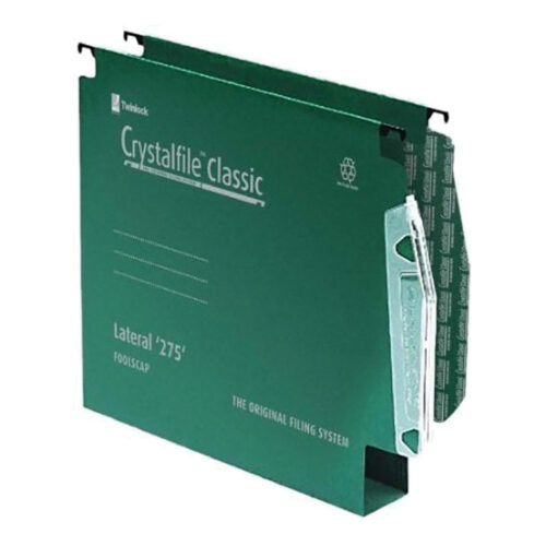 Crystalfile Lateral 275 Files 30mm Green Rexel 78654 [Pack 50]   100% recycled premium manila with contrasting steel bars   Fusion Office UK