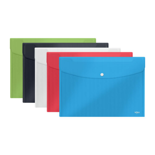 Rexel Choices Popper Wallets A5 Assorted 2115673 [Pack 5]   Practical wallet for protecting documents on the move   Fusion Office UK