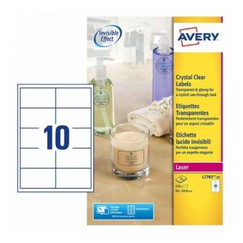 Avery L7783-25 Laser Crystal Clear A4 Labels 10 per Page 50.8x96 [25 Sheets] | Glossy great for glass, plastics & metal | Fusion Office UK