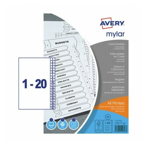 Avery Mylar Dividers 1-20 Index UnPunched A4 05242061 [Pack 5] | Extra durable - reinforced tabs and unpunched | FSC | Fusion Office UK