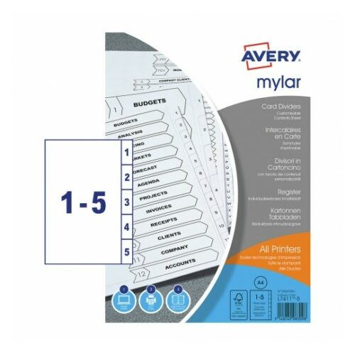 Avery Mylar Dividers 1-5 Index UnPunched A4 05247061 [Pack 20] | Extra durable - reinforced tabs and unpunched | FSC | Fusion Office UK