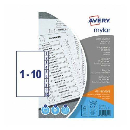 Avery Mylar Dividers 1-10 Index UnPunched A4 05248061 [Pack 10] | Extra durable - reinforced tabs and unpunched | FSC | Fusion Office UK