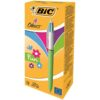BIC 4-Colours Fun Ball Pens 887777 [Pack 12] | Gives you four different colours of ink in the same pen | Fusion Office UK